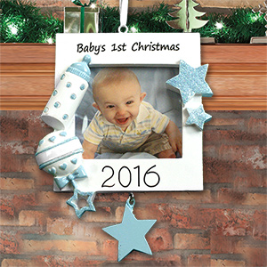 Personalized Baby Boy's 1st Christmas Ornament