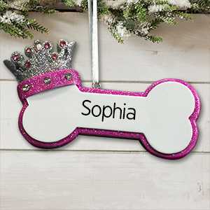 Personalized Princess Dog Bone Ornament | Personalized Pet Ornaments