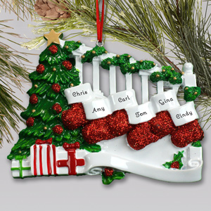 Personalized Staircase with Stockings Ornament | Personalized Family Ornament