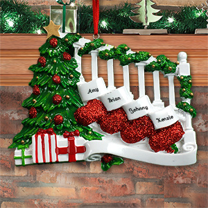 Personalized Staircase with Stockings Ornament M107508X