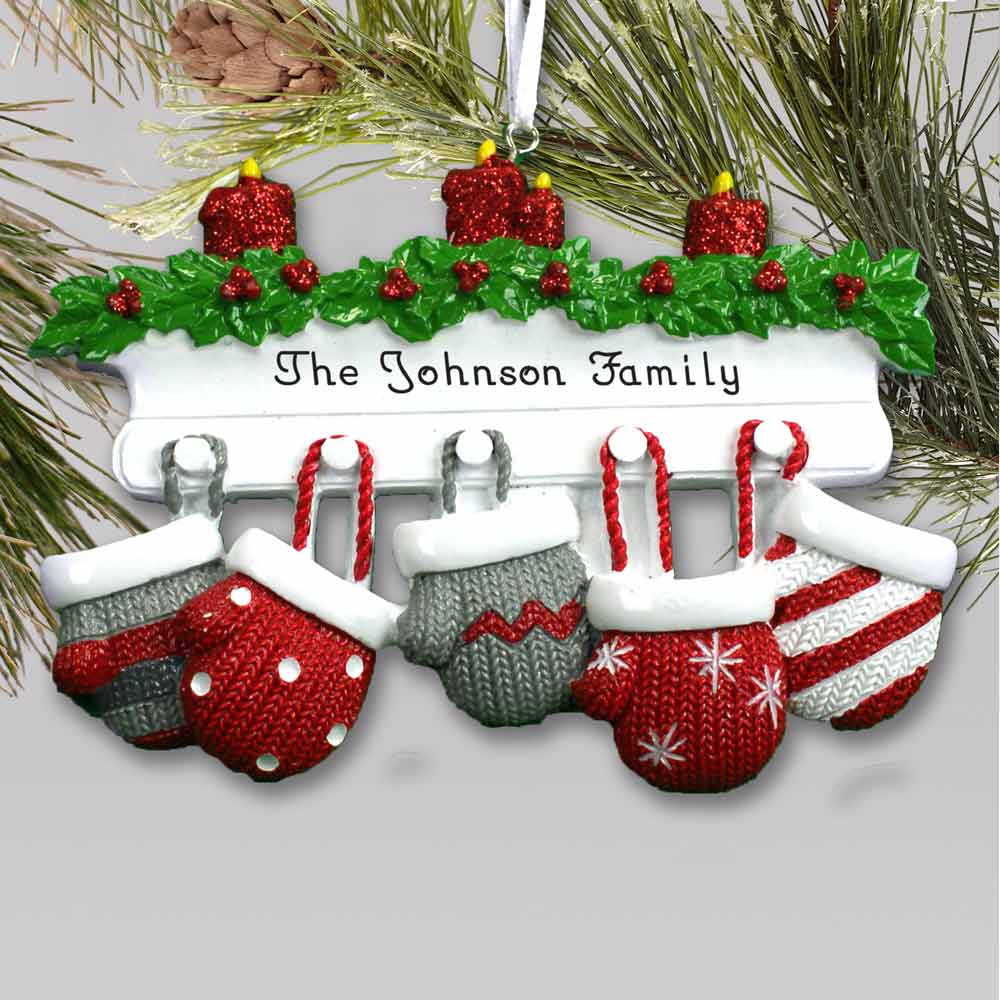 Personalized Mitten Mantle Family Ornament | Personalized Family Christmas Ornaments