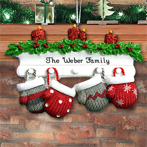 Personalized Mitten Mantle Family Ornament M107529X