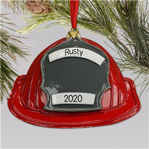 Personalized Fireman Ornament | Personalized firefighter helmet ornament
