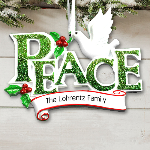 Personalized Peace with Dove Ornament | Christmas Ornaments Personalized