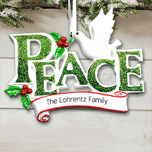 Personalized Peace with Dove Ornament