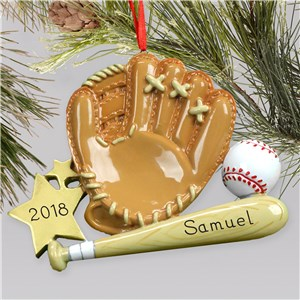 Personalized Baseball Mitt & Bat Ornament M1075787
