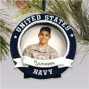 Personalized Photo Ornament Frame US Navy | Personalized Military Christmas Ornaments