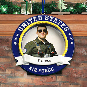 Personalized US Air Force Photo Frame Ornament