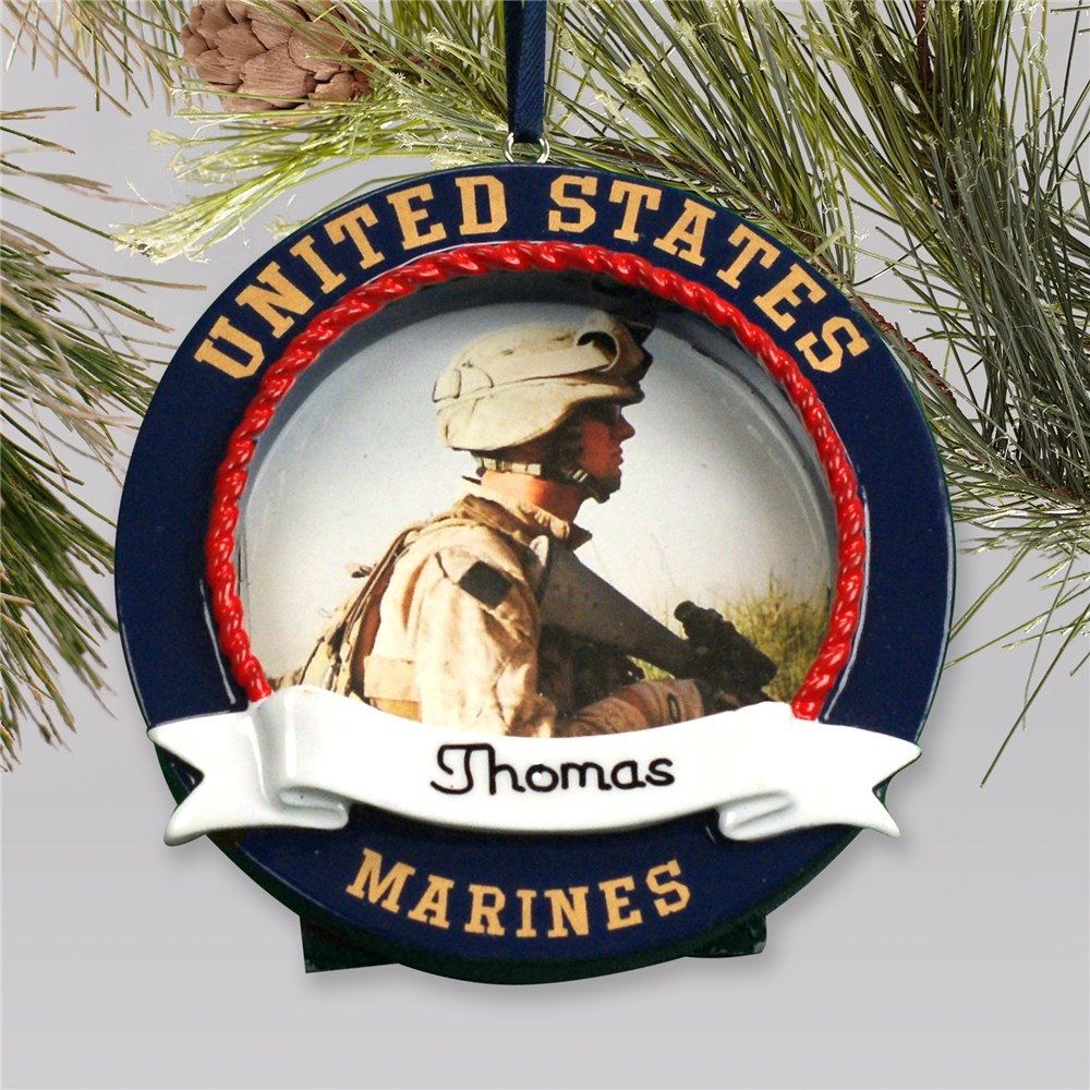 Personalized Photo Ornament Frame US Marines | Personalized Military Christmas Ornaments