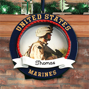 Personalized US Marines Photo Frame Ornament