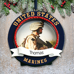 Personalized US Marines Photo Frame Ornament | Personalized Military Christmas Ornaments