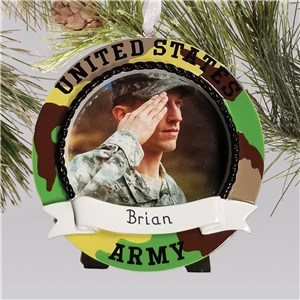 Personalized US Army Photo Ornament - Frame | Christmas Ornaments Personalized