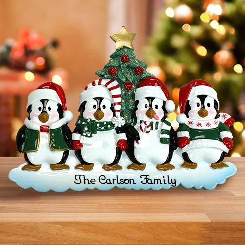 Personalized Family of Penguins Table Topper M1076398