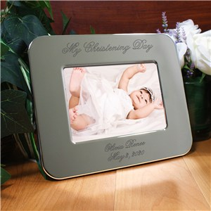 Engraved Christening Day Silver Picture Frame | Personalized Christening Frames