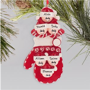 Personalized Family Mitten Ornament | Personalized Family Christmas Ornaments