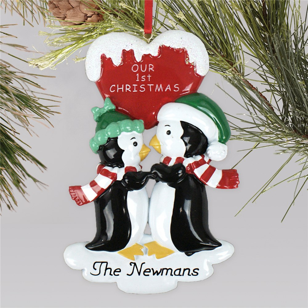 Personalized Kissing Penguins Ornament | Wedding Ornaments