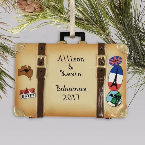 Personalized Vacation Suitcase Ornament | Personalized Couples Christmas Ornament