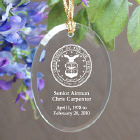 U.S. Air Force Memorial Engraved Oval Glass Ornament