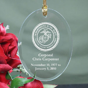 U.S. Marines Memorial Engraved Oval Glass Ornament