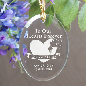 In Our Hearts Forever Oval Glass Ornament