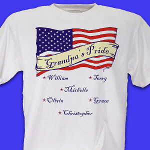 Personalized USA American Pride White T-Shirt