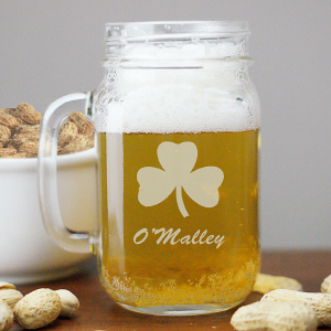 Engraved Irish Shamrock Mason Jar