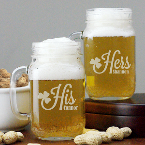 Engraved Irish Couple Mason Jar Set