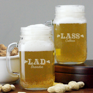 Engraved Irish Mason Jar Set