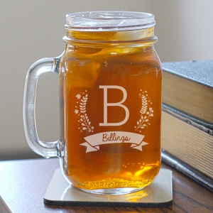 Engraved Family Initial Mason Jar