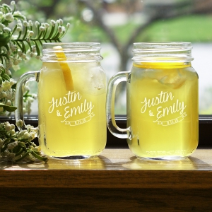 Couples Names Engraved Mason Jar