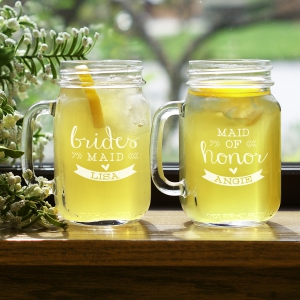 Engraved Wedding Party Mason Jar