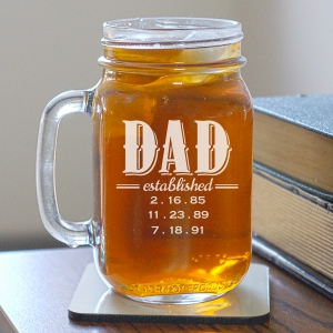 Engraved Dad Established Mason Jar