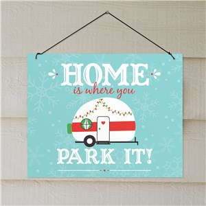 Home Is Where You Park It Wall Hanging | Christmas Vintage Camper Decor