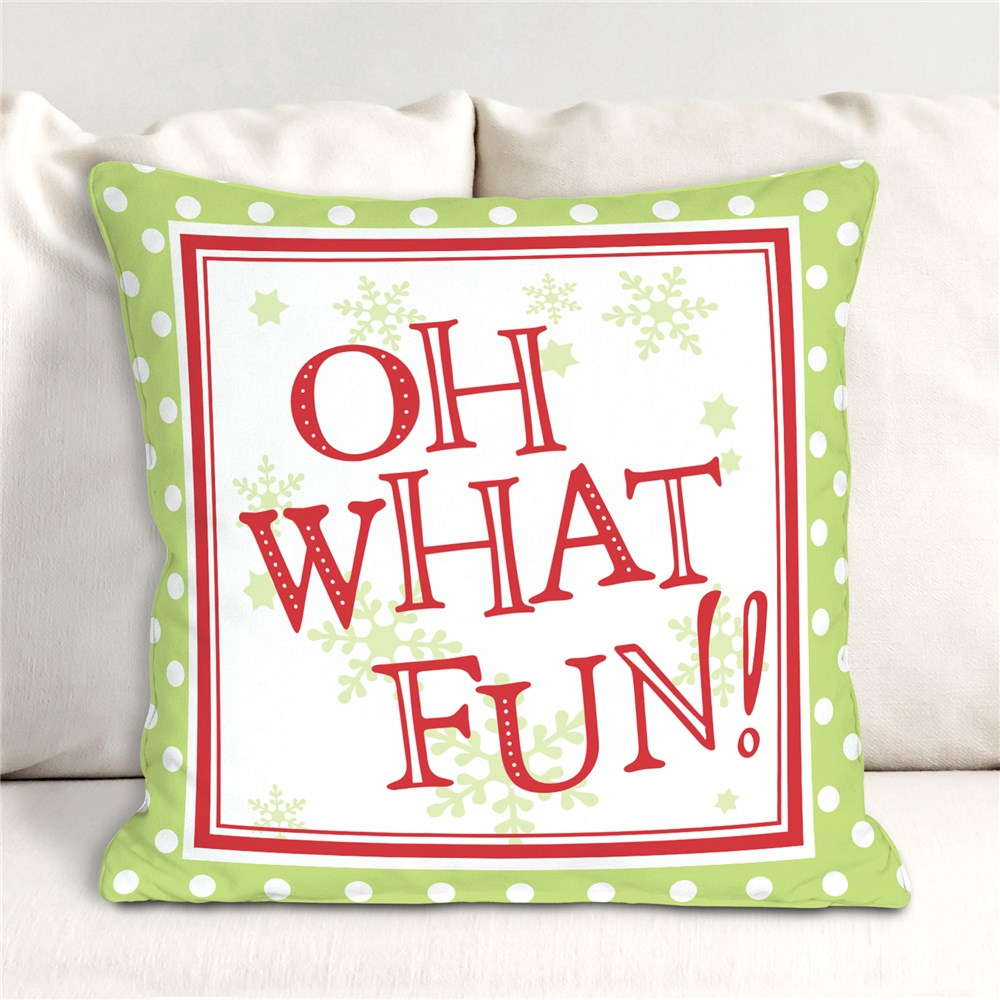 Oh What Fun Throw Pillow | Christmas Throw Pillows