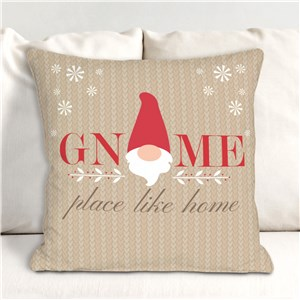 Gnome Place Like Home Throw Pillow | Christmas Gnome Decorations