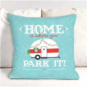 Home Is Where You Park It Throw Pillow | Christmas Vintage Camper Decor