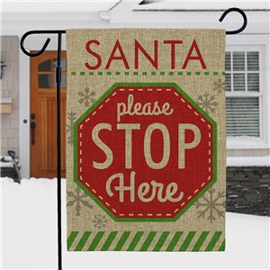 Santa Please Stop Here Garden Flag | Burlap Christmas Flag