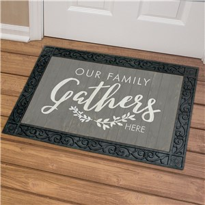 Our Family Gathers Doormat | Fall Doormat