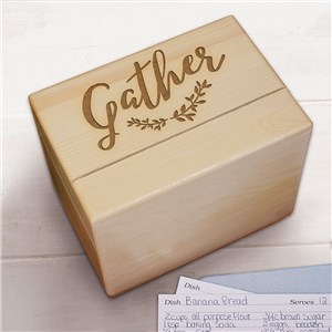 Gather Here Non Personalized Recipe Box | Wooden Recipe Box