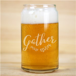 Engraved Gather Beer Can Glass | Fall Themed Glassware