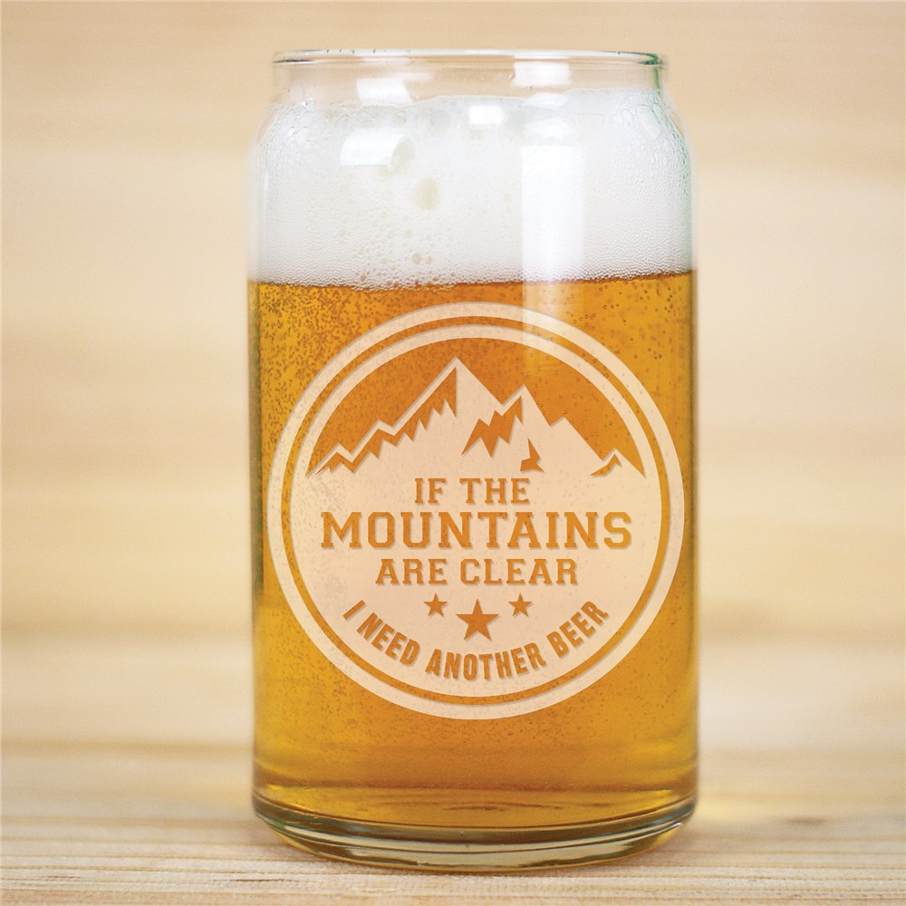 Glass Beer Can | Mountains Engraved Beer Glass