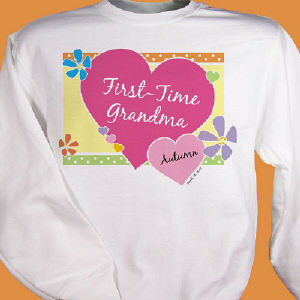 First -Time Grandma New Baby Personalized Sweatshirt