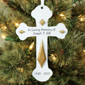 Engraved Memorial Cross Ornament