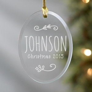 Engraved Family Name Glass Ornament