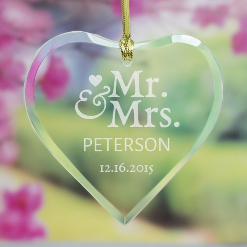 Engraved Mr. and Mrs. Glass Heart Ornament