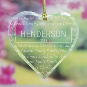 Engraved Our Family Heart Ornament