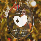 Forever In Our Hearts Memorial Personalized Oval Glass Ornament