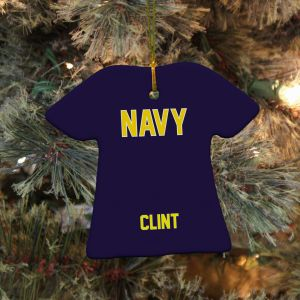 Personalized Ceramic Navy Ornament