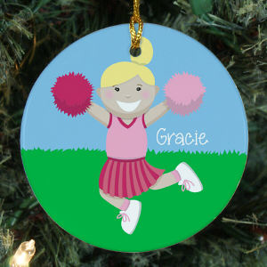 Personalized Ceramic Cheerleader Ornament