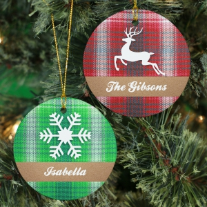 Personalized Plaid Christmas Ornament